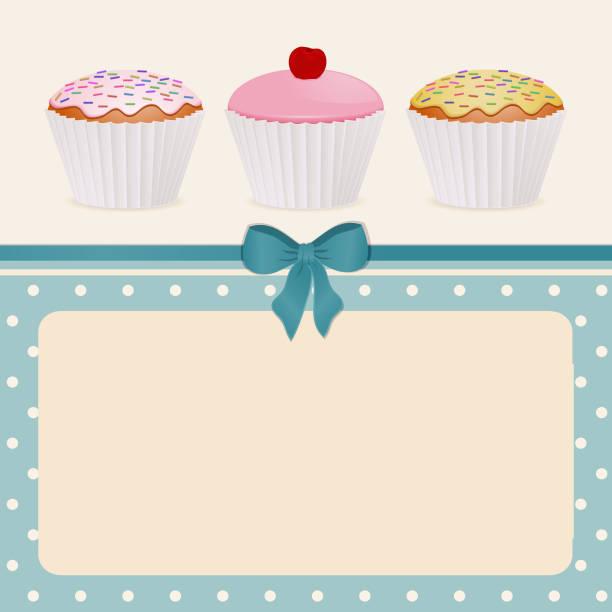 Cupcakes on a blue polka dot background vector art illustration