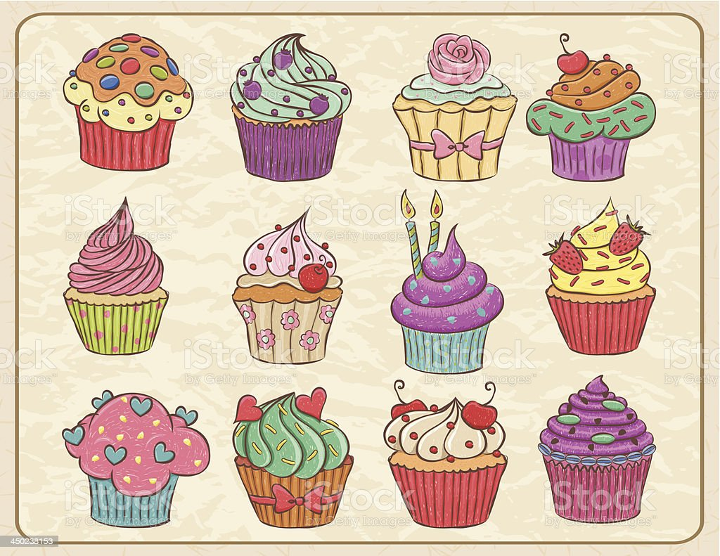 Cupcakes Set royalty-free stock vector art