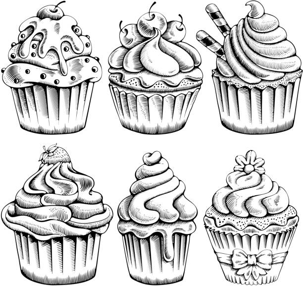 Cupcakes set Set of sweet bakery decorated cupcakes hand drawn in vintage engraved style. Vector illustration. Isolated on white background. cake drawings stock illustrations