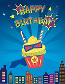 Illustration cupcakes decoration on super hero design concept in blue background colors for happy birthday card.