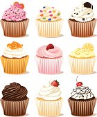 Vector illustration of a variety of cupcakes. No gradient or mesh used. Individual elements grouped for easy editing. 300 dpi jpg included.