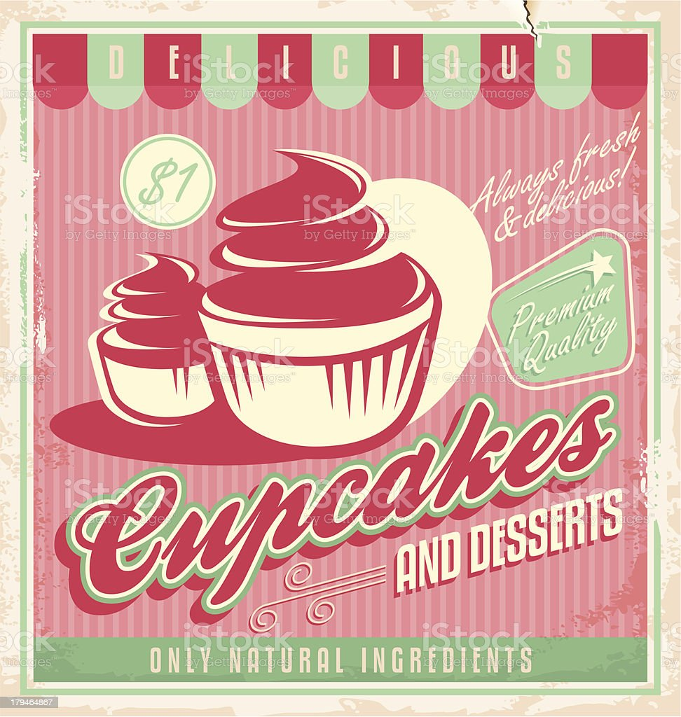 Cupcakes vintage poster design royalty-free stock vector art