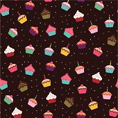 Seamless wallpaper background featuring cupcakes.