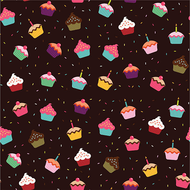Cupcakes Wallpaper (Seamless) Seamless wallpaper background featuring cupcakes. cake patterns stock illustrations
