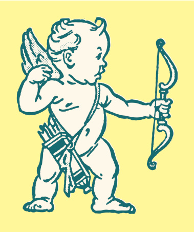 Cupid Aiming Bow and Arrow