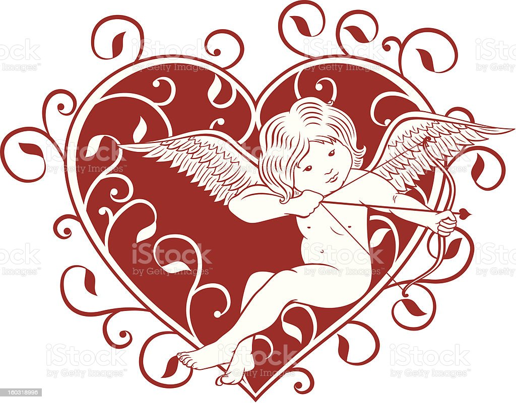 Cupid and Heart royalty-free stock vector art