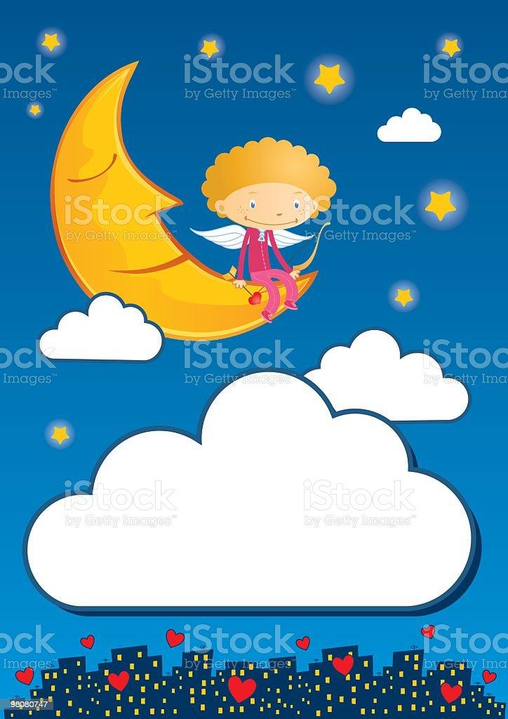 Cupido e luna cupido e luna - immagini vettoriali stock e altre immagini di ala di animale royalty-free
