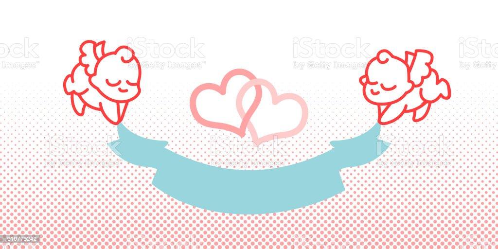 Cupido y la cinta Little angel - ilustración de arte vectorial