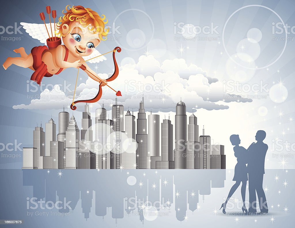 Cupid and young couple of lovers royalty-free stock vector art