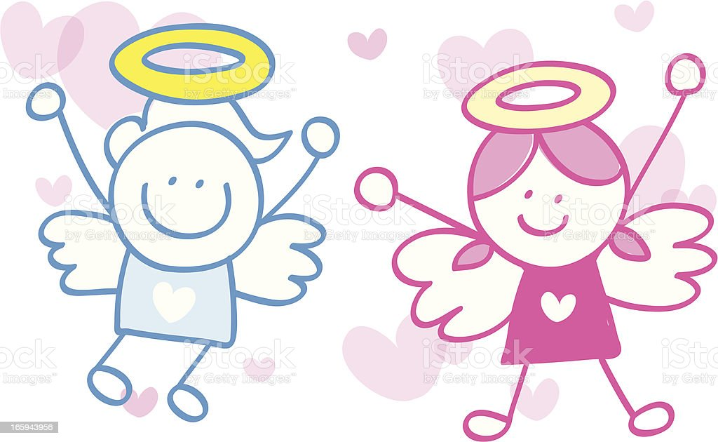 cupid angel couple vector art illustration