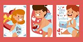 Cupid babies banners, vector illustration. Valentine day greeting card template, cute little angels, symbols of love. Romantic postcards with adorable cupids, cartoon characters and place for text