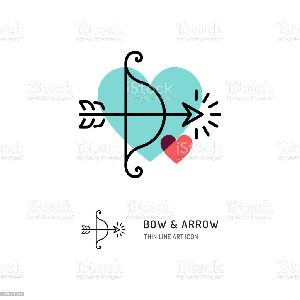 Cupid Bow And Arrow Archery Line Icons Wedding And Valentines Day