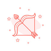 Cupid Bow with arrow flat cartoon style concept. Simple sign of Love. Valentine day icon. Cute color symbol for print, social media post, web banner, card design. Vector Illustration isolated on white