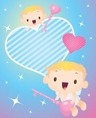 Vector illustration - Cupid flying starry sky, holding love key, open your heart.
