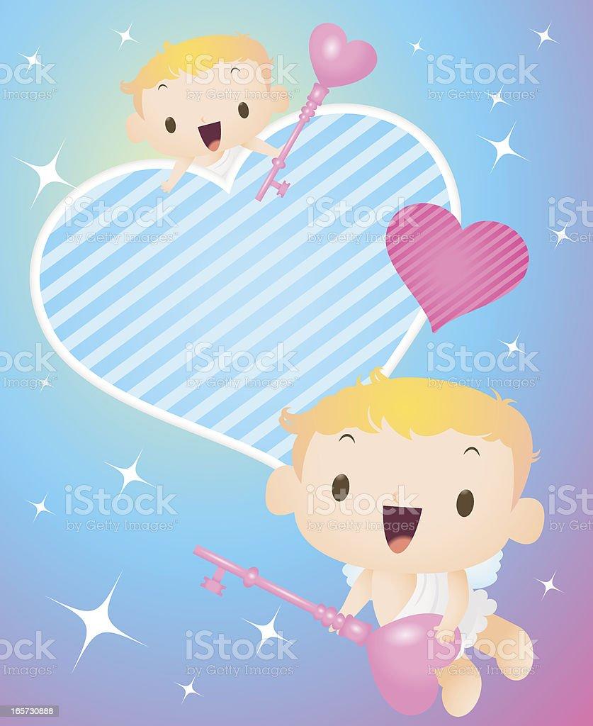 Cupido flying cielo estrellado cielo, sujetar love llave, su corazón abierto - ilustración de arte vectorial