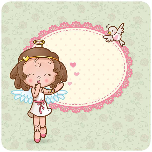 Cupid girl vector art illustration