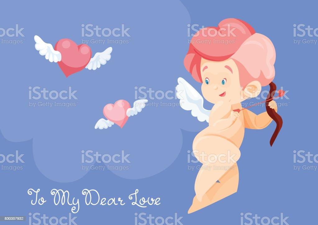 Amor Jagd Mit Pfeil Und Bogen Fliegende Herzen Cupid Musizieren