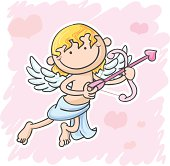 Cupid in valentine days in colourful cartoon style