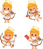 Vector Illustration, Cupid mascot in various positions, format EPS 8