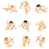 Cupid mascot in various positions. vector illustration in flat style.