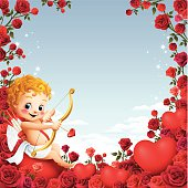 - cupid with rose frame