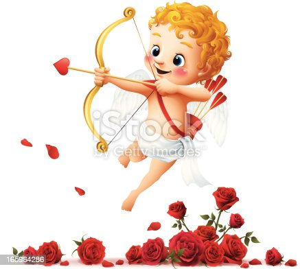 - cartoon illustration of cupid with roses
