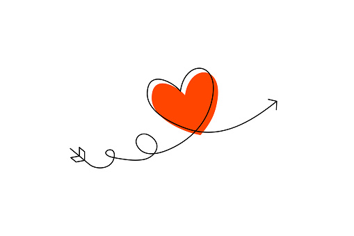 Cupid s arrow in the continuous drawing of lines in the form of a heart and the text love in a flat style. Continuous black line. Work flat design. Symbol of love and tenderness.