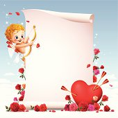 - cupid with blank paper scroll
