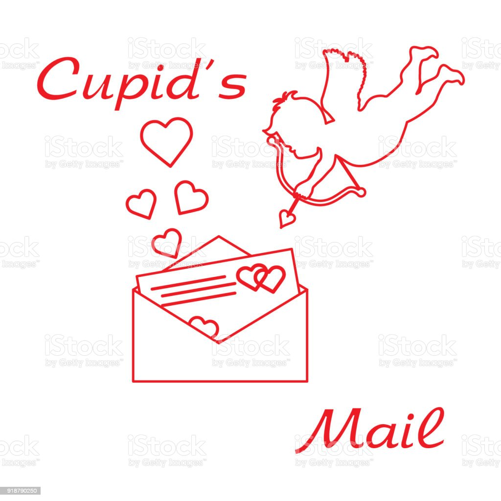 Cupid Shoots A Bow And Envelope With Valentines Card And Hearts Love