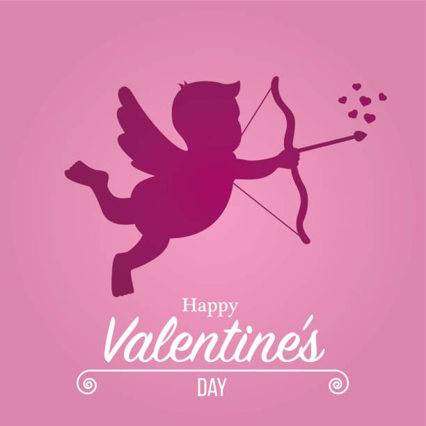 Cupid silhouette vector art illustration