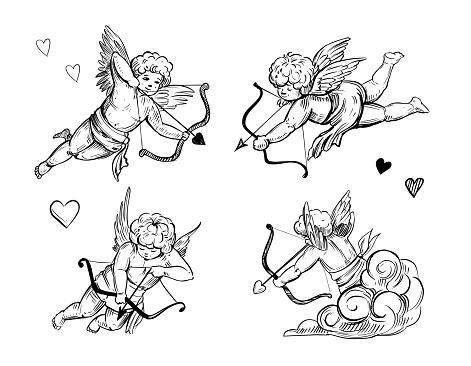 Cupid sketch. Vector illustration. Outline with transparent background