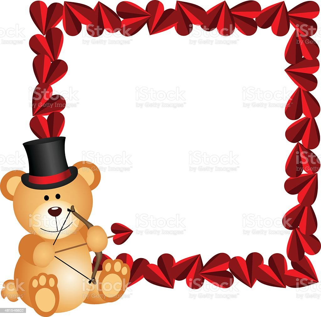 Cupid Teddy Bear With Heart Frame Stock Vector Art & More Images of ...