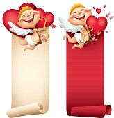 cartoon illustration of cupid with vertical banner