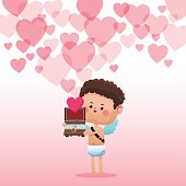 cupid valentine day box gift hearts background vector illustration eps 10