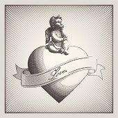 an editable vector file with a cupid on a heart