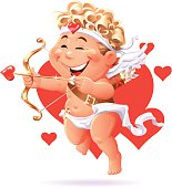 A cute flying cupid aiming his bow, isolated on white. EPS 10 (image contains transparencies), grouped and labeled in layers.