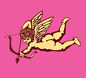 Cute and simple monochrome winged cupid with bow and arrow, cherub angel vector illustration, Eros god of love, falling in love aiming at someone's heart