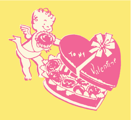 Cupid with Box of Chocolates for Valentine