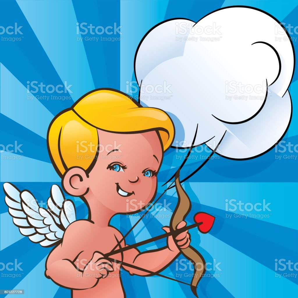 Cupid  with tied bow with heart shaped arrow and speech bubble vector art illustration