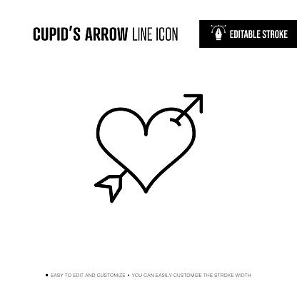 Cupid's Arrow Line Icon - Editable Stroke