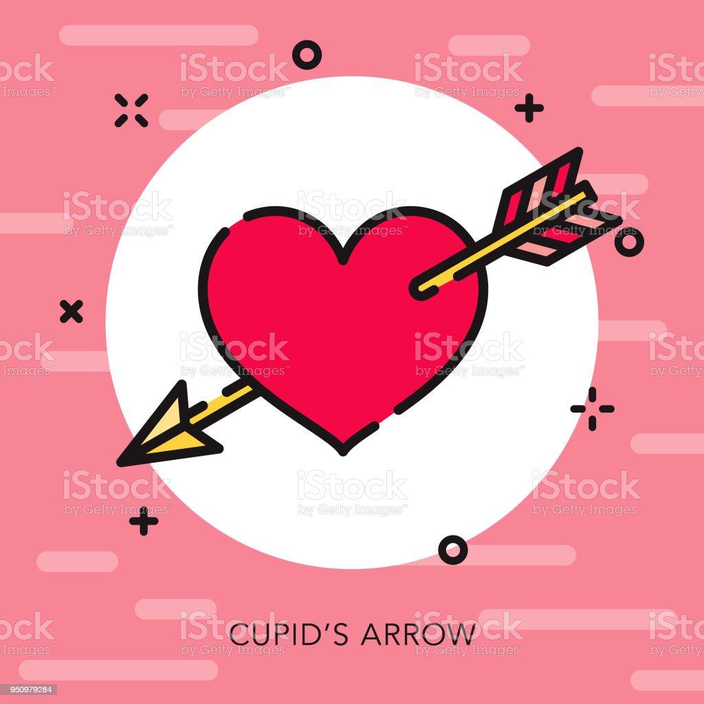 Cupids Arrow Open Outline Valentines Day Icon Stock Vector Art