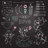 Cupids, arrows, hearts and other design elements