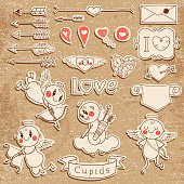 Set Wedding and Valentine's Day design elements. Vector illustration.