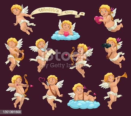 Cupid angels cartoon vector characters of Valentines Day holiday. Cartoon Amurs or cherubs flying with hearts, arrows and bows, love letter, harp and pipe, clouds, binoculars and vintage ribbon banner