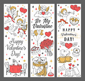 Valentines Day Cupids and hearts vector greeting banners of romantic holiday design. Heart shaped present boxes, wedding ring and balloons, chocolate cake, rose flowers and Amurs with love arrows
