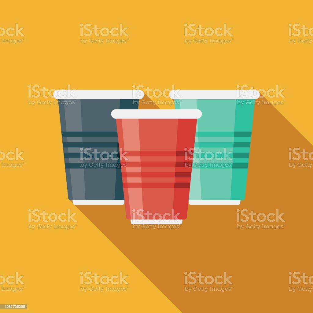 Tassen flach Designikone Prom – Vektorgrafik