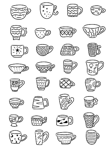 Cups line icon collection. Hand drawn vector illustration set. Black outline. Coffee and tea cups doodle