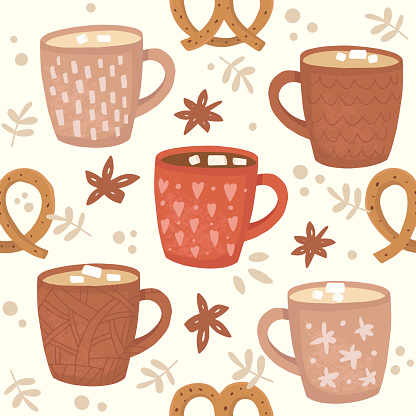 Cups of cocoa and coffee pattern