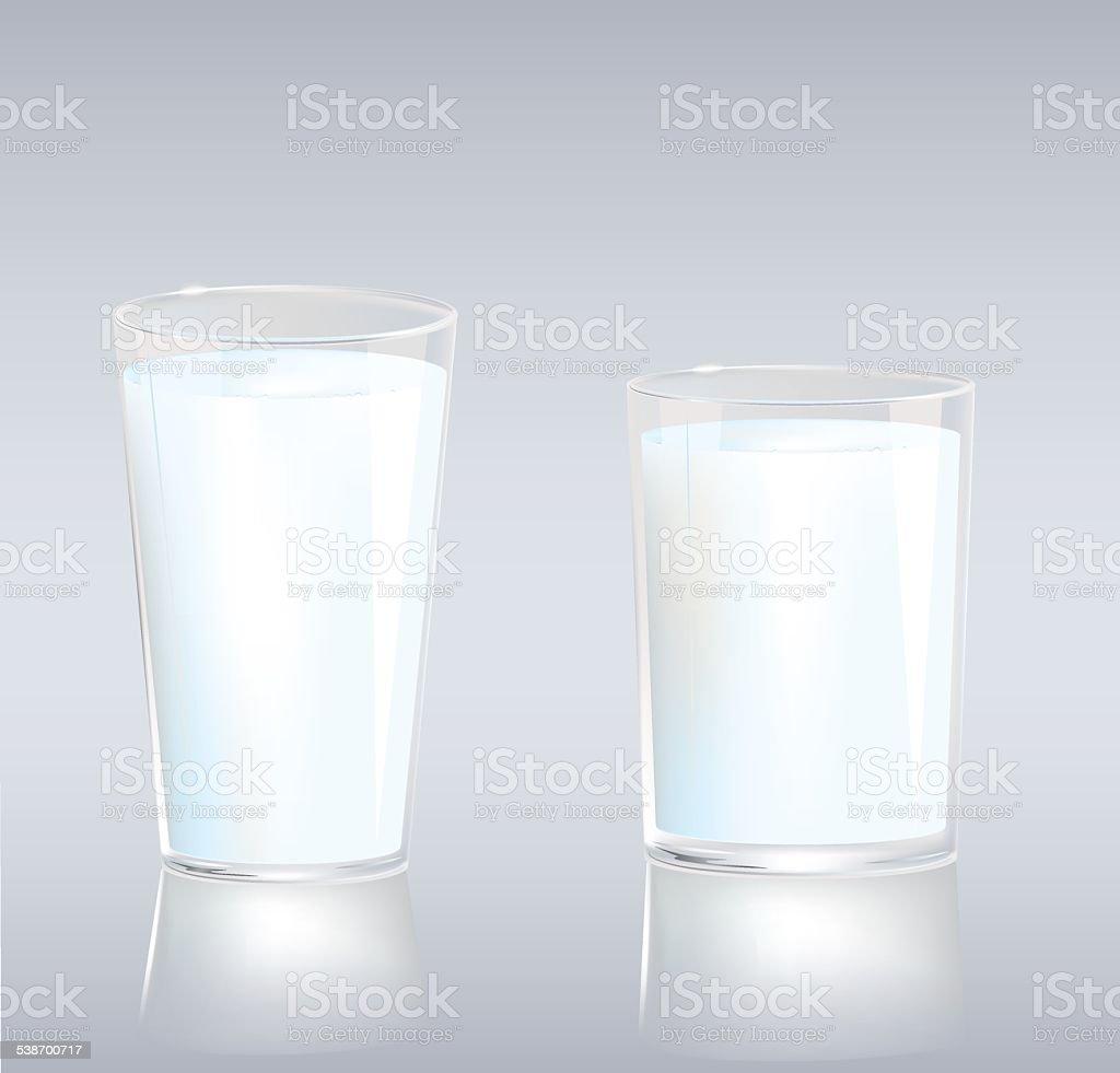 Cups of milk vector art illustration