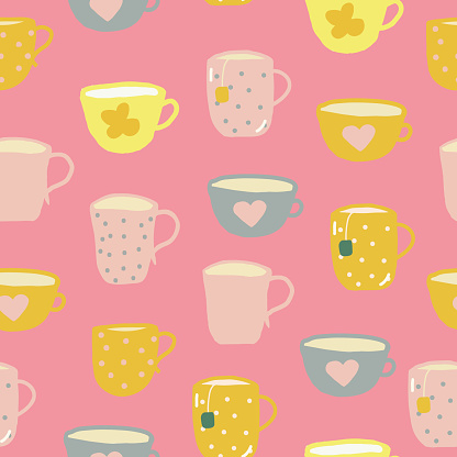 cups seamless pattern. hand drawn doodle. vector, cartoon, minimalism. trending colors 2021. wallpaper, wrapping, textiles, banner kitchen tea coffee drinks tablecloth cafe